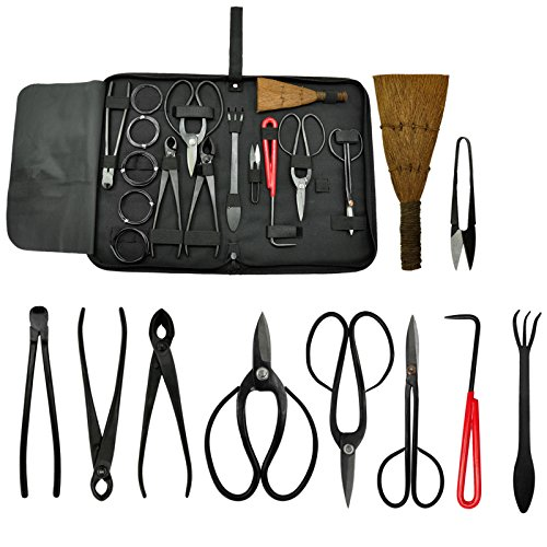 Voilamart 10 Piece Bonsai Tool Kit with Case, Carbon Steel Scissor Cutter Shear Set Garden Plant Tools