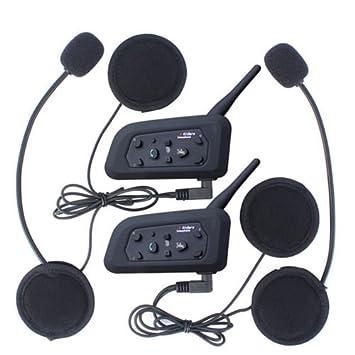azisen 2 paquetes Bluetooth para moto casco intercomunicador auricular con micrófono para 6 Riders 1200 m
