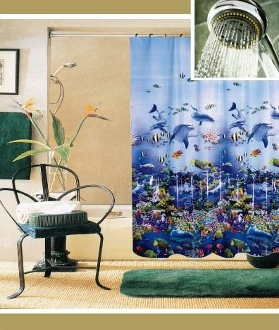 Image Unavailable Not Available For Color Bathroom Shower Curtain Ocean Sea Life Whale HE104Wha