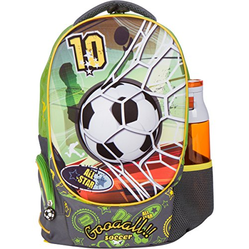 D Soccer Design Elementary School Book Bag for Boys - Large Compartments and Side Pockets - Durable with Padded Bottom by MB ALL STAR (Soccer Kids Backpack)
