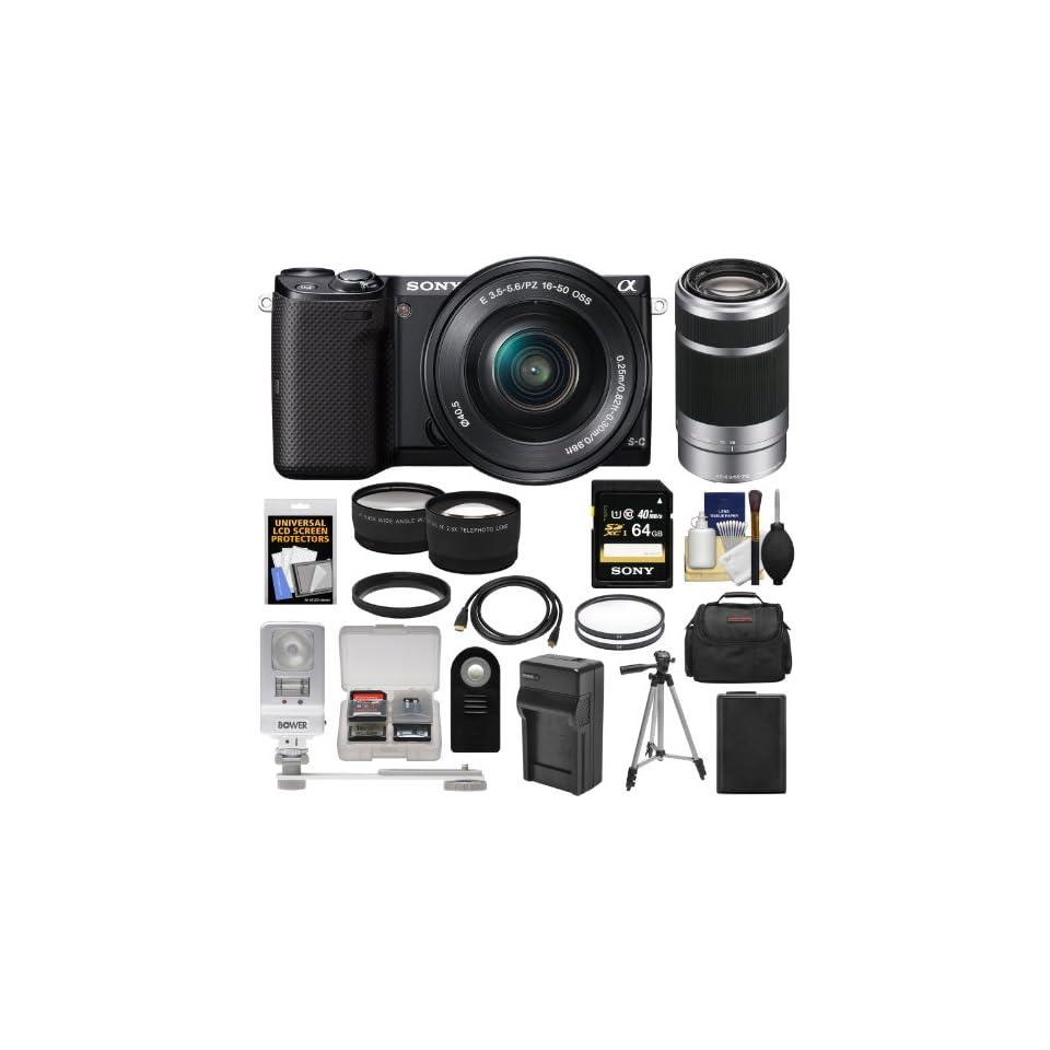 Sony Alpha NEX 5T Digital Camera Body & 16 50mm Lens (Black) with 55 210mm Lens + 64GB Card + Battery + Case + Flash/LED Video Light + Filters + Tripod + Tele/Wide Lenses Kit