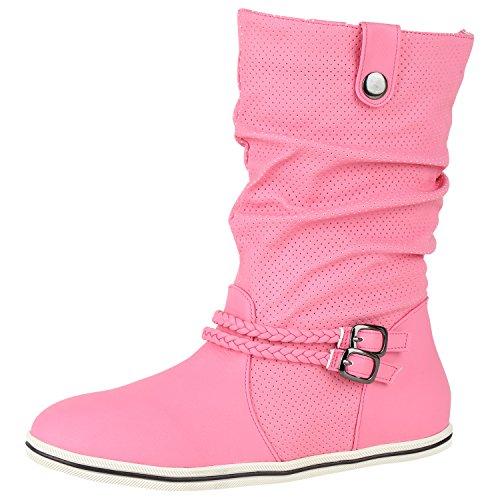 napoli-fashion Sportliche Damen Stiefeletten Stiefel Flache Boots High Low Top Jennika Pink