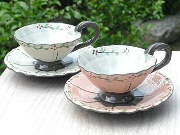 花くるり紅茶碗皿 清水焼 白 京焼 加春