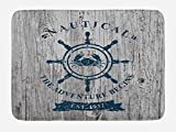 Lunarable Nautical Bath Mat, Crab Inside The Steering Wheel Symbol on Grunge Wood Planks Adventure Begins, Plush Bathroom Decor Mat with Non Slip Backing, 29.5 W X 17.5 W Inches, Grey Dark Blue