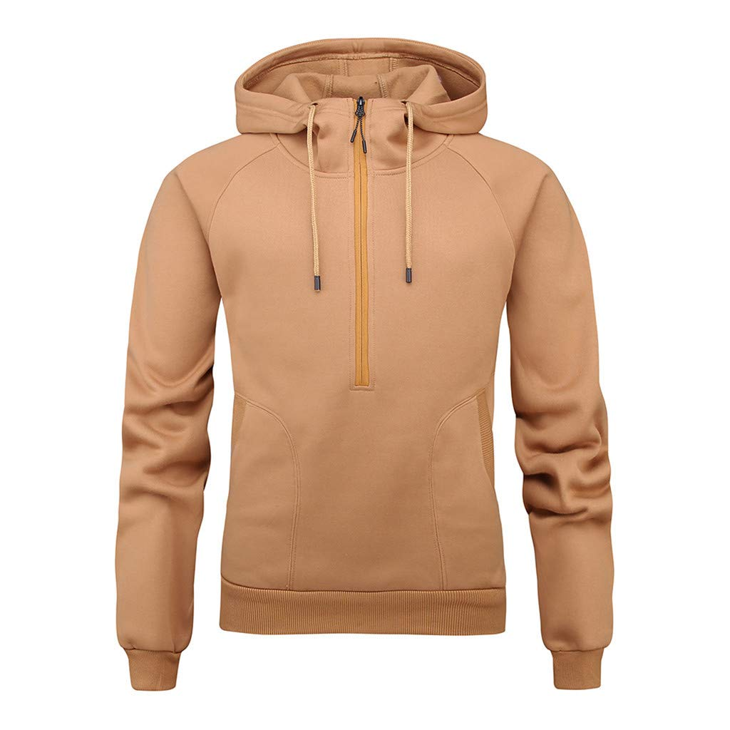 WUAI Autumn Fashion Hoodie Men's Casual Hoodies Pullover Sports Outwear Sweatshirts Pockets(Khaki,US Size S = Tag M) by WUAI-Men