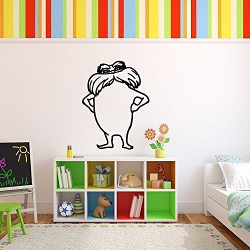 Dr. Seuss Lorax Wall Decal Vinyl Wall Art, Childrens Book Character for Kids Room, Nursery, Playroom | Black, White, Red, Yellow, Blue, Pink, Other Colors | Small, Large Sizes -