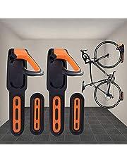 Fiets muur mount rek, 2-pack rubber gecoate verticale fiets opberghouder haak zware cyclus opknoping organizer met schroeven (geel)