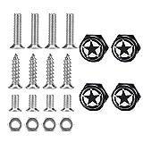 Dsycar Chrome Metal Land Force Black Pentagram Logo Anti-theft Car License Plate Bolts Frame Screws,Pack of 4(Black)