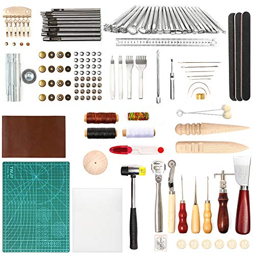 LAMPTOP 92Pcs Leather Crafting Tools and Supplies,Leather DIY Hand Stitching Tools Leathercraft Tools Including Sewing Tools, Leather Stamps, Glue Hammer, A4 Mat and Cutting Pad for DIY Leather Art
