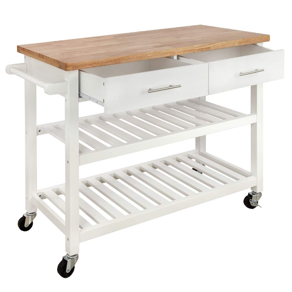 Homegear Open Storage V3 Kitchen Cart with Shelves - Island on Wheels White by Homegear (Image #2)