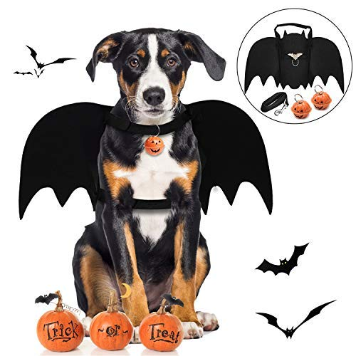 Legendog Dog Bat Wings, Halloween Costumes for Dogs, Pet Costume, Bat Wings for Dogs with Dog Leash and Pumpkin Bells, Dog Bat Wings