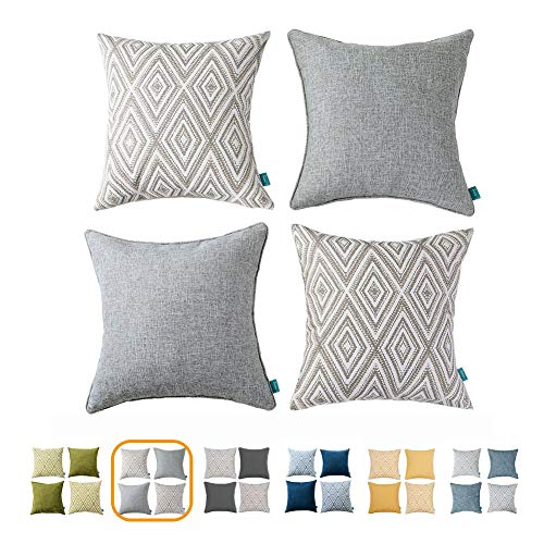 - Home Plus Plaid Polyester Linen Decorative Pillow Covers 4 pcs Throw Pillows Covers Gray/Grey White Couch Pillowcase Cushion Cover 17X17 Throw Pillow Cover Couch Gray White Set of 4 Holiday Bedroom