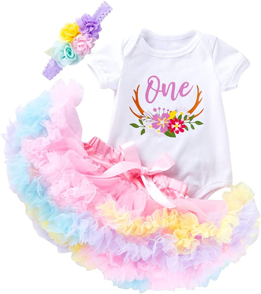 3Pcs Baby Girl One 1st Birthday Outfits Floral Romper Tulle Tutu Skirt Set Party Dress Clothes
