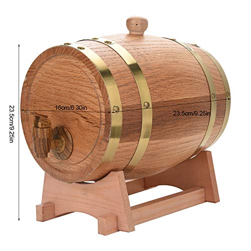 Oak Barrel, 3L Vintage Wood Oak Timber Wine Barrel Dispenser for Whiskey Aging Barrel Bourbon Tequila Brewing Port Kegs (3L) by Yosooo (Image #2)