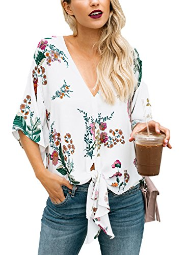 Dokotoo Womens Short Sleeve V Neck Floral Tie Front Flare Tops Chiffon Blouses
