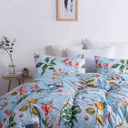 Leadtimes Floral Duvet Cover Set Full/Queen Flowers Bedding Set Lightweight Boho Duvet Comforter Cover Set (Queen, Blue Floral)