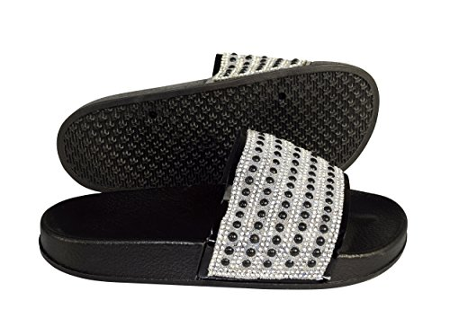 Peach Couture Cute Floral Studded Summer Sandals Slip On Slides Flats (7, Black Silver)