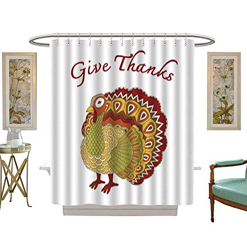 Iuvolux Shower Curtain CollectionHappy Thanksgiving Beautiful Turkey Card. Home Art Paintings Pictures Decorations W72 x H78 Inch
