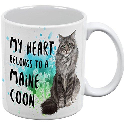 My Heart Belongs Maine Coon Cat White All Over Coffee Mug (Cat Kitten Maine Coon)