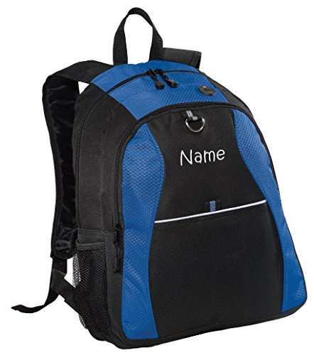 Personalized Blue Contrast Backpack with Embroidered Name