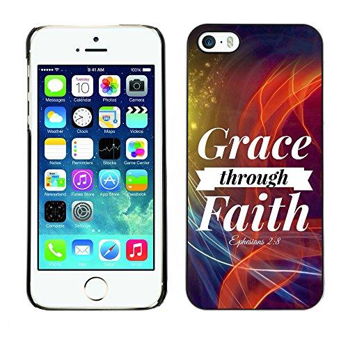 DREAMCASE Citation de Bible Coque de Protection Image Rigide Etui solide Housse T¨¦l¨¦phone Case Pour APPLE IPHONE 5 / 5S - GRACE THROUGH FAITH - EPHESIANS 2:8
