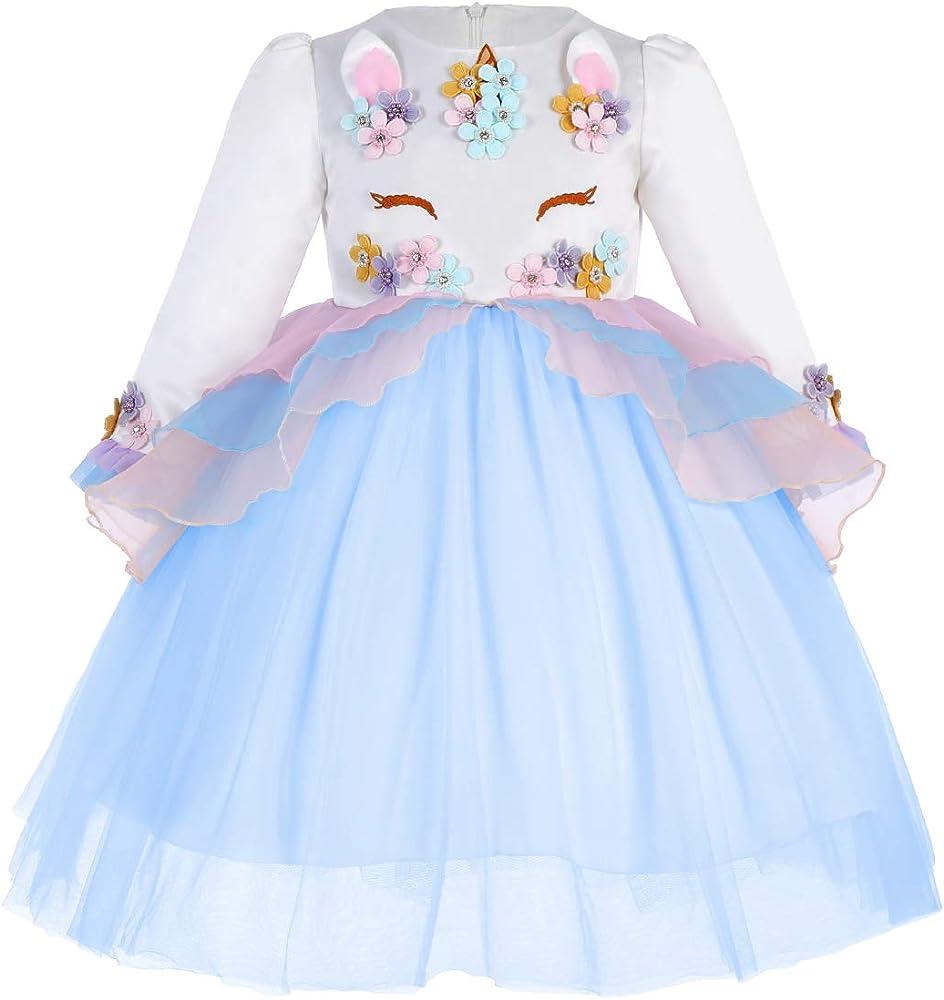 OwlFay Vestido de Tutu Princesa Fiesta Disfraz de Unicornio Manga ...