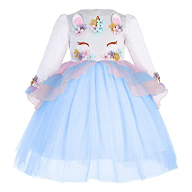 bcddda8a3197 Girls Unicorn Costume Cosplay Fancy Dress Up Princess Sequins Rainbow Tulle  Tutu Skirt Party Outfits Birthday Pageant Carnival Halloween Dresses Prom  Ball ...