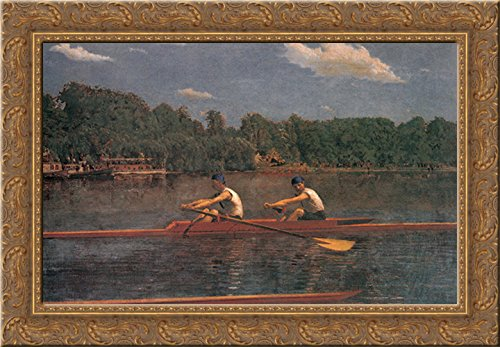 The Biglin Brothers Racing 24x18 Gold Ornate Wood Framed Canvas Art by Eakins, Thomas
