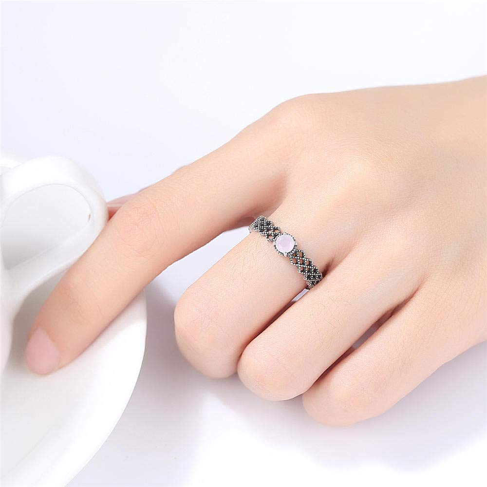 MOOKO S925 Sterling Silver Ring Thai Silver Ring Set With Natural Synthetic Powder Ring Expandable Open Rings Adjustable For Women Jewelry