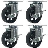 """4 All Steel Swivel Plate Caster Wheels w Brake Lock Heavy Duty High-gauge Steel (4"""" With brake)"""