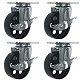 4 All Steel Swivel Plate Caster Wheels w Brake Lock Heavy Duty High-gauge Steel (4'' With brake)