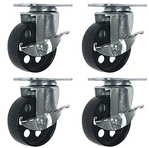 4 All Steel Swivel Plate Caster Wheels w Brake Lock Heavy Duty High-gauge Steel (4