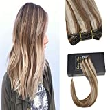 Sunny 20inch Remy Hair Wefts Bundles Piano Color Medium Brown Highlight with Golden Blonde Sew In Hair Extensions Premium Silky Straight 100% Remy Human Hair Weave 100g/bundle