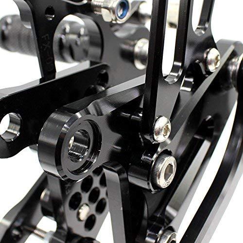 Commandes recul/ées moto r/églable Repose Pieds pour KAWASAKI Ninja ZX6R ZX636 2009 2010 2011 2012 2013 2014 2015 Black