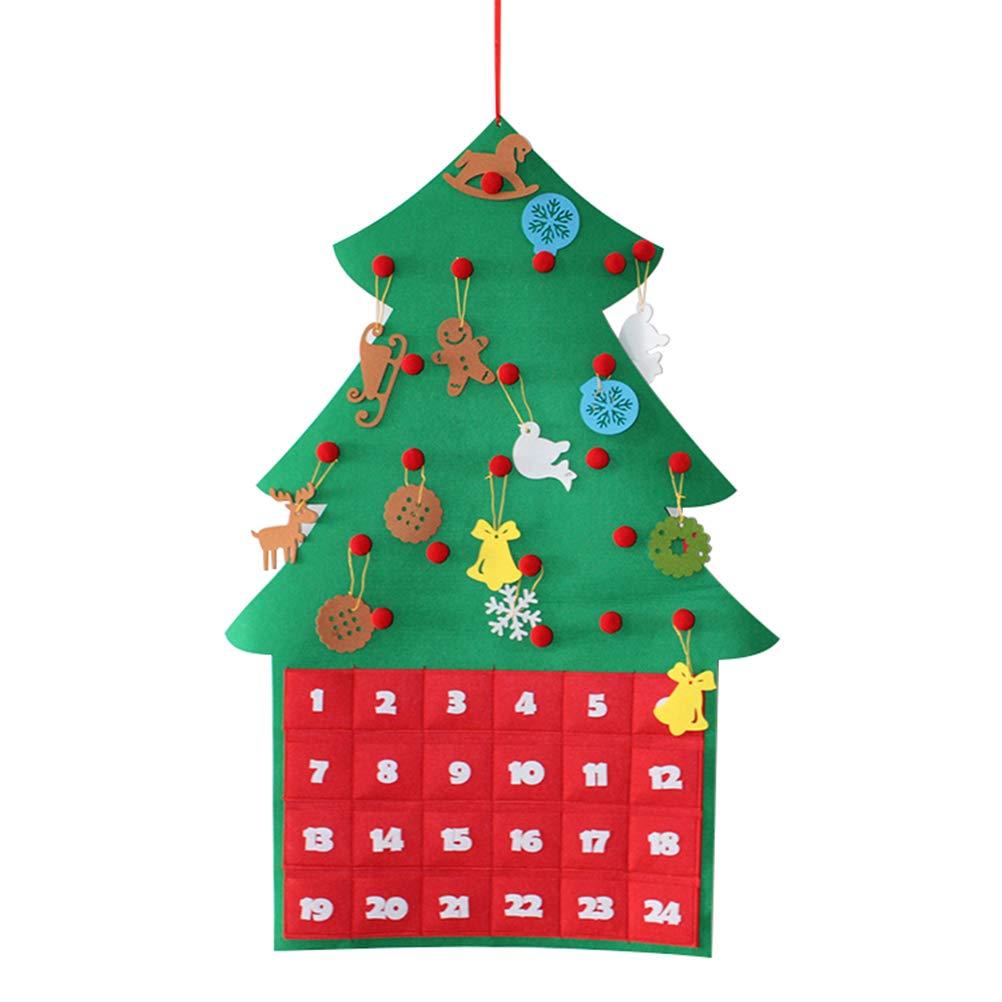 Amosfun Felt Christmas Advent Calendar Hanging Christmas Tree Countdown Calendar Festival DIY Decor for Kids (Green)
