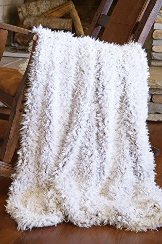 Faux Fur Throw Blanket, Off-White Shaggy Plush
