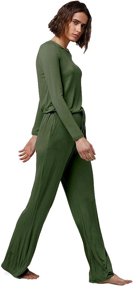 Dreamskull Jumpsuit Einteiler Overall Hosenanzug Lang Langarm Elegant Romper Playsuit Pyjama Gem/ühtlich Wasserfallkragen R/ückenfrei Einfarbig Herbst Winter Damen Frauen