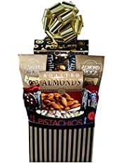 Savory and Sweets Delight - Gourmet Gift Basket - with Caramel Popcorn, Bar Mix, Sourdough Craft Beer Pretzels, Roasted Almonds, Sweet Chili Pistachios, Festival Chocolate Cookies, Speciality Coffee (2 single serve)and Almond Rocca