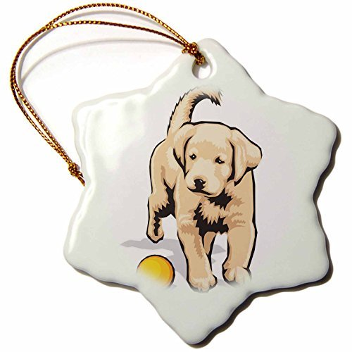 Christmas Ornament Blonde Designs Cute and Cuddly Canines - Cute and Cuddly Canine Labrador Retriever Pup with Ball - Snowflake Porcelain Ornament