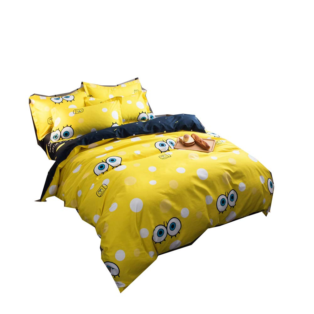 Bed Set Queen comforter cover Set Cartoon big eyes baby– 3 Piece Bedding Sets One Duvet Cover Two pillow covers– Soft Microfiber Teen Bedding for Kid Girl Bedroom (Big eyes baby, Queen,90''x90'')
