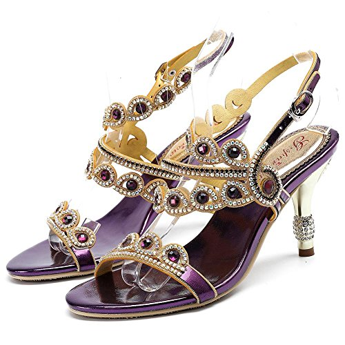 Donna Cavo Pompa Vestito 34 Tacco Toe purple Strass Purple Viola Sandali Open Pelle Zhang8 BqaFgndB