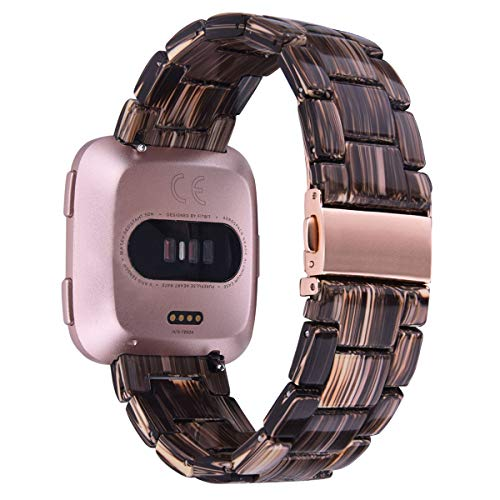 - V-MORO Compatible Fitbit Versa/Fitbit Blaze Band Women Men - Fashion Resin Versa Wristbands Replacement Bracelet Metal Stainless Steel Rose Gold Buckle for Fitbit Versa Smart Watch (Coffee Wood Grain)