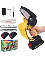 Mini Chainsaw Cordless 4-Inch Handheld Portable Electric Chainsaw 2 Battery and 2 Chains Power Chain Saws with Protective Handle for Wood Cutting, Tree Pruning ,Gardening