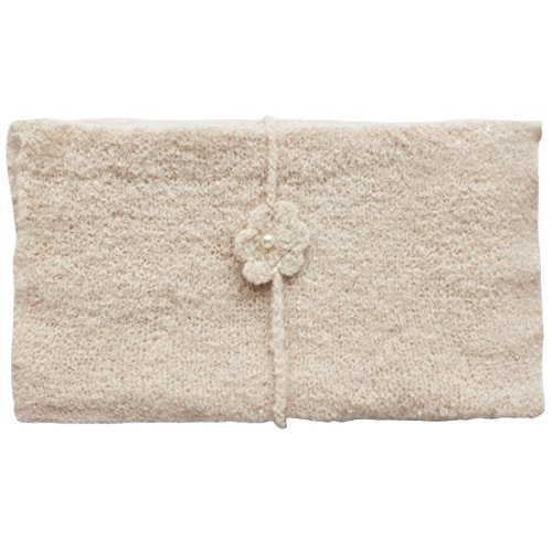 iEFiEL Newborn Baby Crochet Knit Mohair Wrap Cloth with Flower Headdress (Beige)