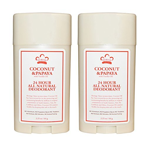 Nubian Heritage 24-Hour Natural Deodorant (Coconut & Papaya), With Coconut Oil, Papaya Extract, Shea Butter & Grapefruit Seed Extract, 2.25 oz (Pack of 2) ()