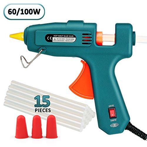 Hot Glue Gun, WEIO Full Size (Not Mini) 60/100W Dual Power Hot Melt Glue Heavy Duty High Temp Melt Glue Gun Kit with 15 Pcs Premium Glue Sticks for Arts, Craft Projects &Sealing Finger Cap by WEIO