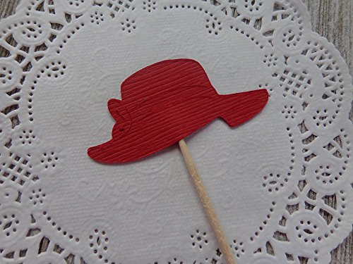 Red Hat Cupcake Toppers - Fancy Red Hat Food Picks - Appetizer Picks (Set of 24)