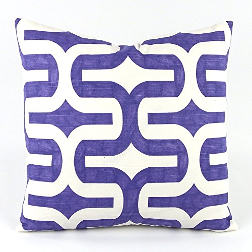 "Mazy Modern Chevron Decorative Handmade Pillow Cover, 18x18"", Reversible, Purple & Grey, Chloe & Olive"