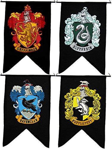 Great Deal! Bundle - 4 items: Harry Potter Gryffindor Slytherin Hufflepuff Ravenclaw House Wall 4 Ba...