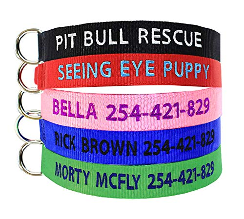 Yoke Style Personalized Dog Collar, Dog Collars Embroidered with Custom Pet Name and Phone Number ()